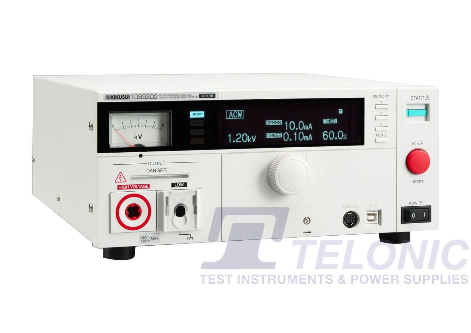 TOS5302   [5kV AC]  Hipot Testing (Flash Tester) and Insulation Resistance Tester